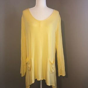 Women's 1X Yellow tunic with pockets